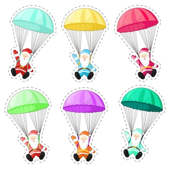 Set santa claus with a parachute. santa claus isolated on white background. christmas picture.