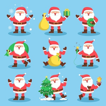 Set of santa claus with present and snow on blue for christmas card