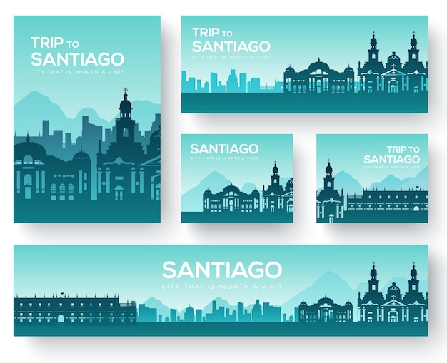 Set of santiago landscape country ornament travel tour