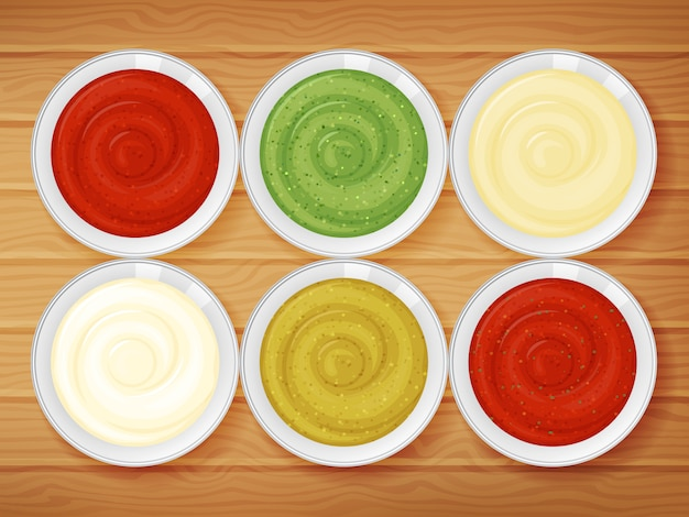 Set of sauces on wood background. cartoon style.