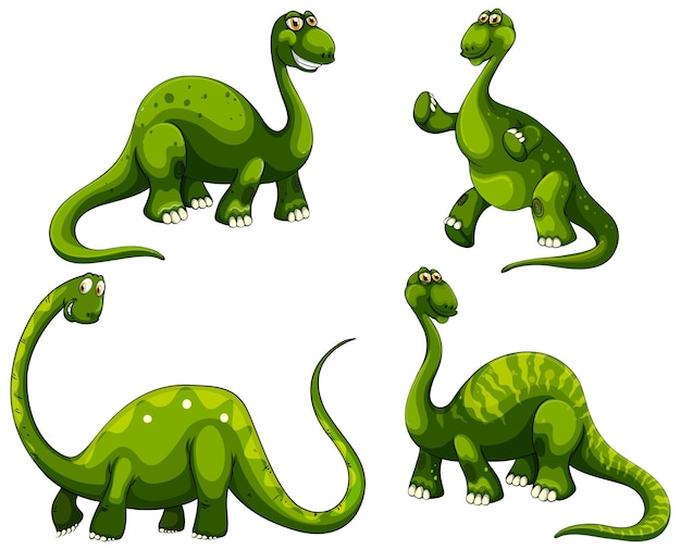 Set of sauropod dinosaurs cartoon character