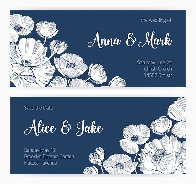 Set of save the date card and wedding invitation with blooming poppy flowers hand drawn with contour lines