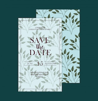 Set of save the date card with leaves