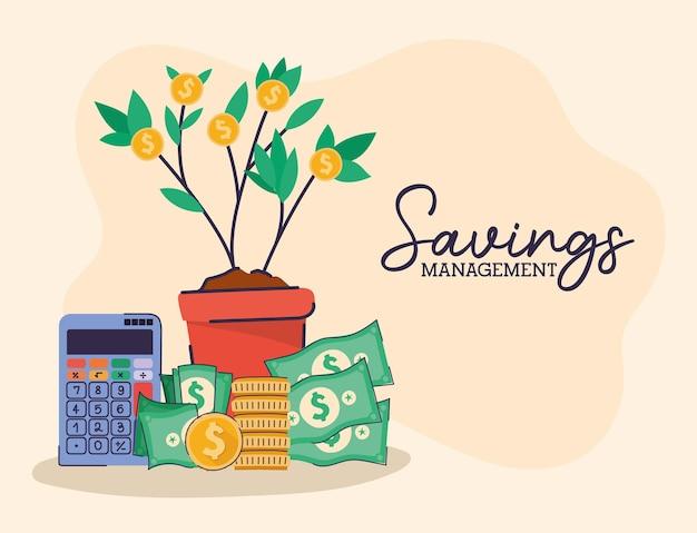 Set of saving management icons and saving management lettering on a beige illustration design
