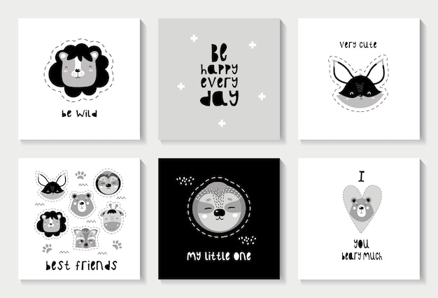 Set of scandinavian cards with cute animals