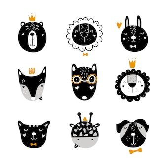 Set of scandinavian cute animals