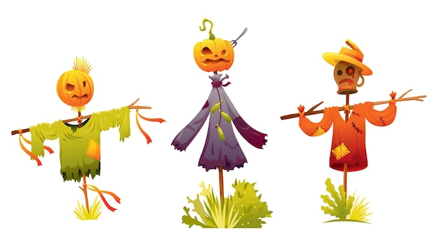 Set of scarecrows was put on a stick