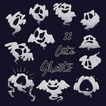 Set of scary white ghosts for halloween.