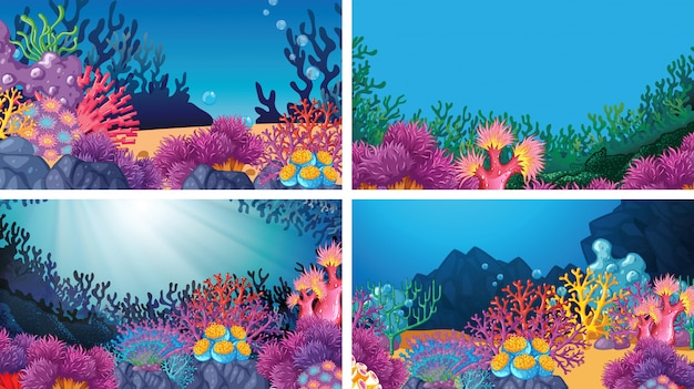 Set of scenes background in nature setting