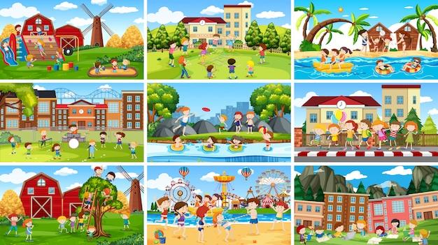 Set di scene o sfondo in ambiente naturale Vettore gratuito