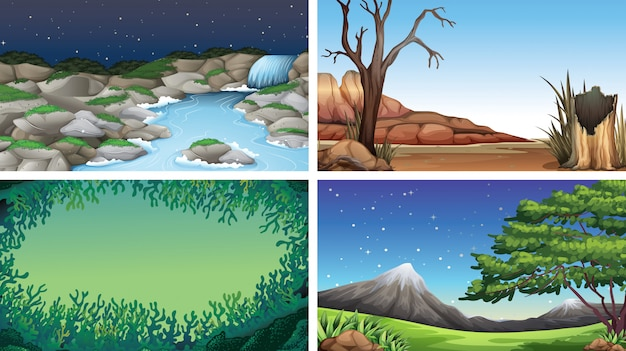 Set of scenes or background in nature setting