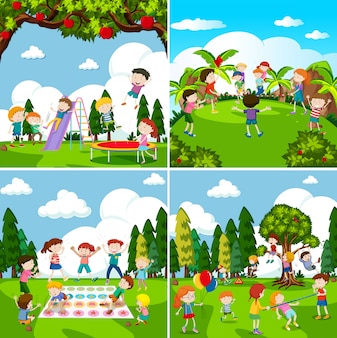 Set of scenes of children playing