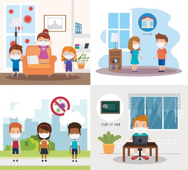 Set scenes of children using face mask illustration design