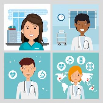 Set scenes of doctors and paramedic female illustration