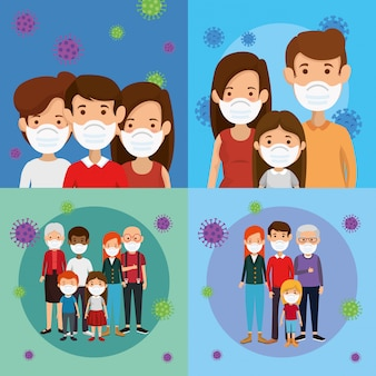 Set scenes of families using face mask