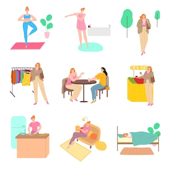Set of scenes from ordinary girls day vector illustration