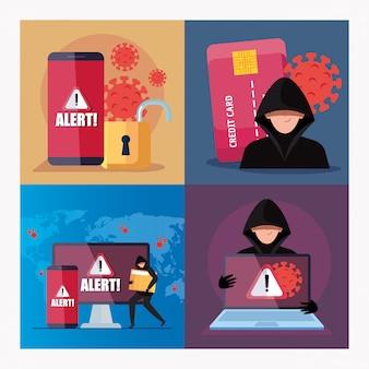Установить сцены, хакер с электроникой устройств во время пандемического covid-19 дизайн векторные иллюстрации