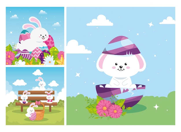 Set scenes of happy easter with decoration vector illustration design