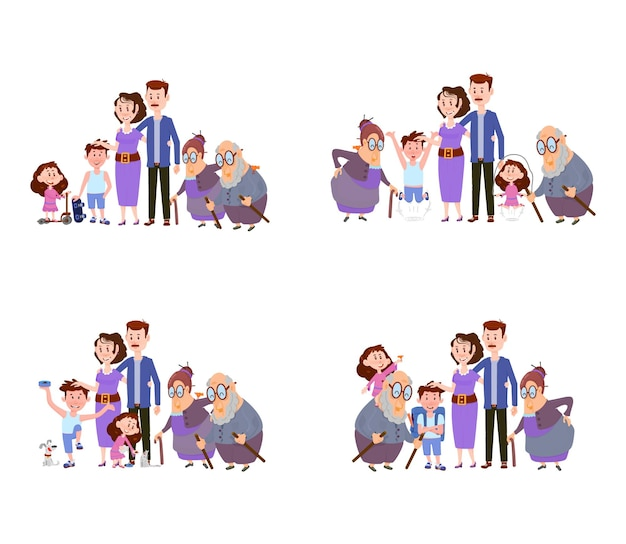 Set of scenes happy family mom dad and children and grandparents  flat characters