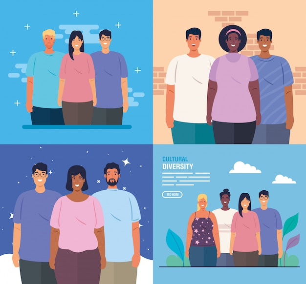 Set scenes of multiethnic people together, cultural and diversity concept