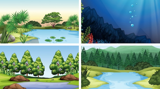 Set of scenes in nature setting