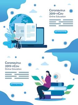 커플과 아이콘이있는 2019-ncov의 온라인 교육 장면 설정