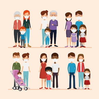Установите сцены семей, используя маску