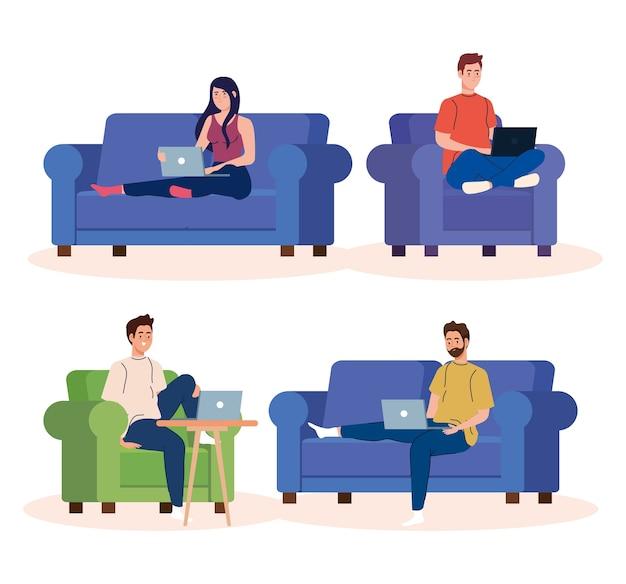 在宅勤務のシーンを設定し、フリーランサーのカップルが自宅でリラックスしたペースで仕事をする、便利な職場