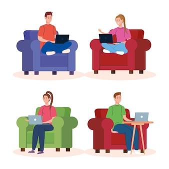 自宅での作業、リラックスしたペースで自宅で仕事をするフリーランサーカップルのシーンを設定します。