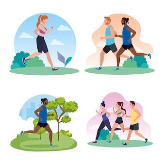 イラストデザインを実行している人々、ジョギングのシーンを設定します