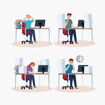 職場の図にストレス攻撃を持つ人々のシーンを設定します。
