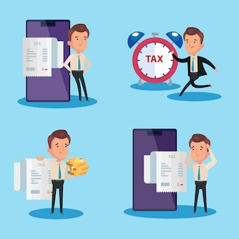 Установите сцены иллюстрации налогового дня с характером бизнесмена