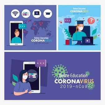 Set scenes, online education advice to stop coronavirus covid-19 spreading, learning online concept vector illustration design
