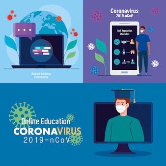 Set scenes, online education to stop coronavirus covid-19 spreading, learning online concept vector illustration design