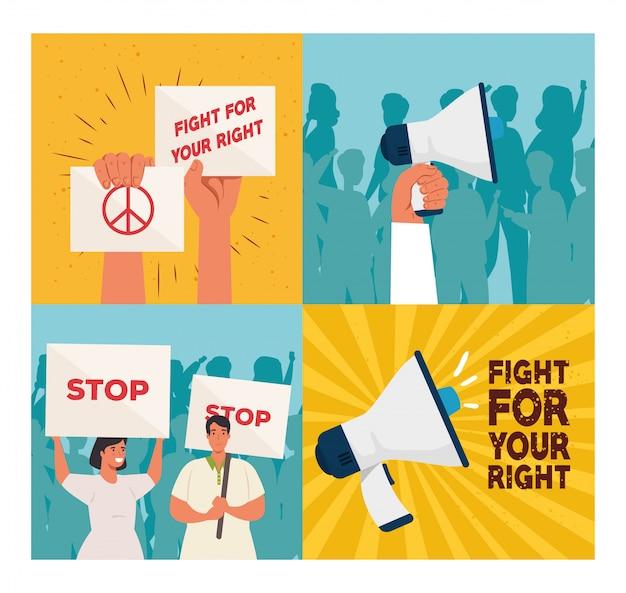 プラカード、コンセプト人権で抗議のシーンの人々を設定します