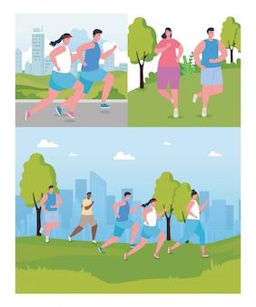 Устанавливают сцены, люди бегут на улице, молодые люди в спортивной одежде бегают в парке