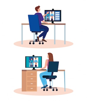 Set scenes of people in video conference