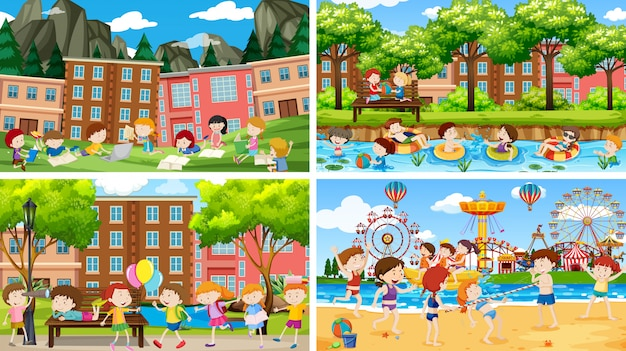 Set of scenes with childrens paying