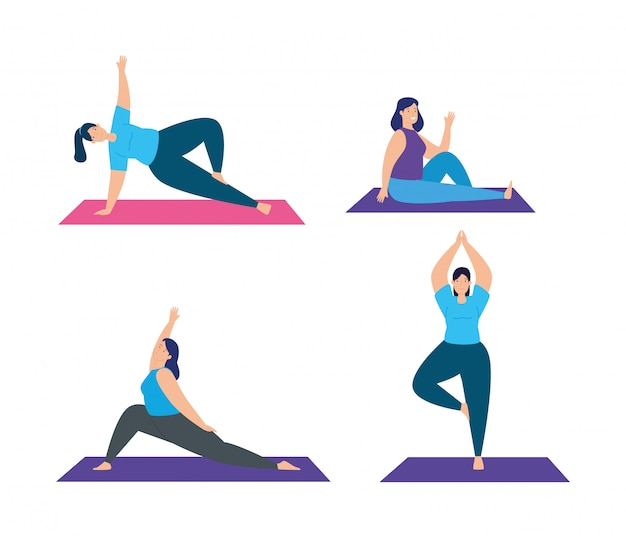 Set scenes of women practicing yoga illustration design