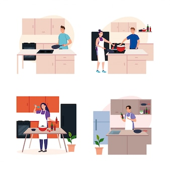 Set scenes of young people cooking on kitchen scenes