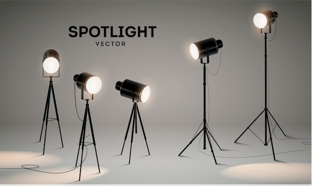 Set of  scenic spotlights on a gray background.