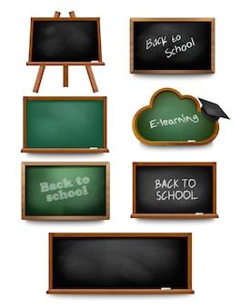 Set of school board blackboards. back to school. vector illustration