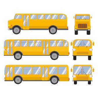 Set school bus flat design.