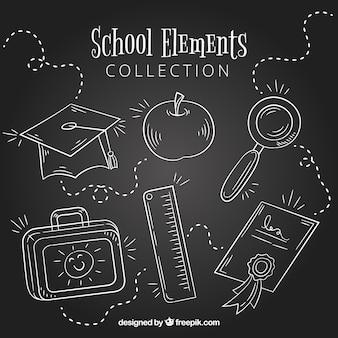 Insieme di elementi di scuola in stile lavagna