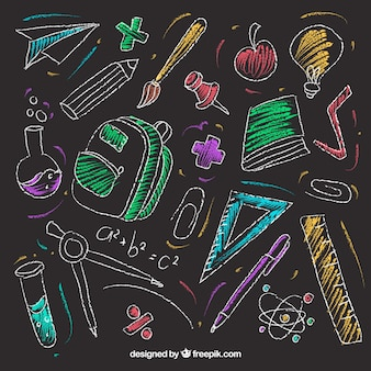 Set of school elements in chalkboard style