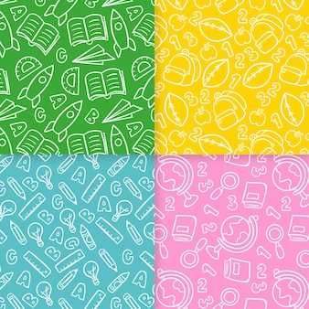 Set of school hand drawn seamless pattern