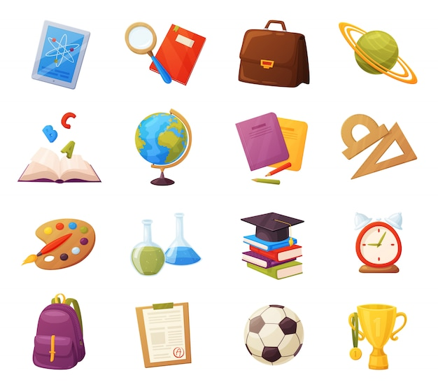 Set of school items. cartoon objects and supplies include: books, backpack, tablet, magnifier, ball, alarm, ruler, briefcase, flasks, notebook, cap, grades list, cup.