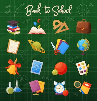 Set of school items. cartoon objects and supplies include: books, globe, tablet, magnifier, ball, alarm, ruler, briefcase, flasks, notebook, cap, list, bell.
