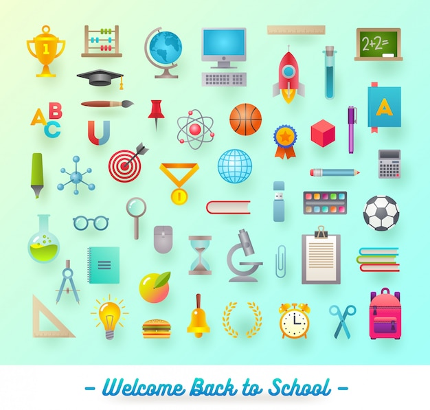 Set of school items, object, supplies and accessories