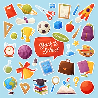 Set of school items stickers. cartoon objects and supplies include: books, backpack, tablet, magnifier, ball, alarm, ruler, briefcase, flasks, notebook, cap, list, cup.